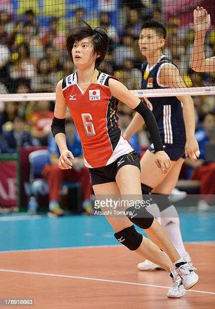Haruka Miyashita of Japan in action during day four of the FIVB World Grand Prix Sapporo 2013 match between Japan and China at Hokkaido Prefectural...