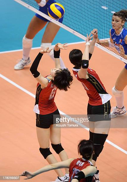 Haruka Miyashita of Japan in action during day one of the FIVB World Grand Prix Sapporo 2013 match between Japan and Italy at Hokkaido Prefectural...