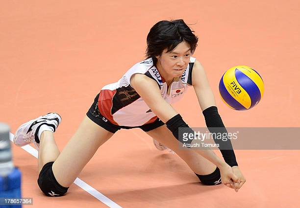 Haruka Miyashita of Japan in action during day three of the FIVB World Grand Prix Sapporo 2013 match between Serbia and Japan at Hokkaido Prefectural...