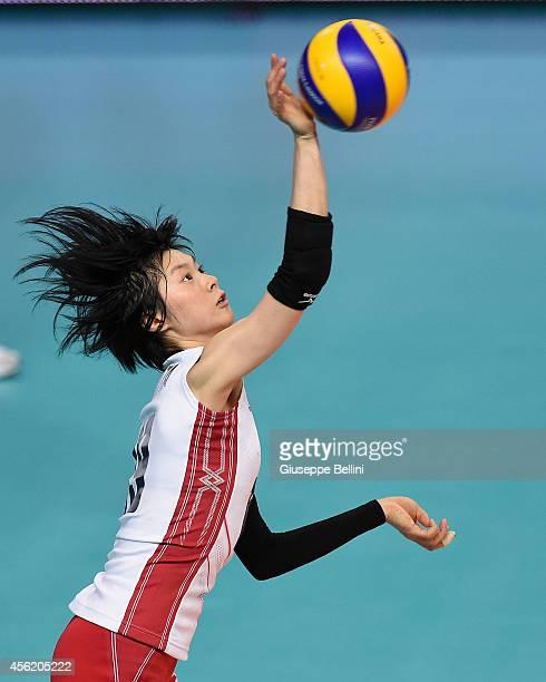 Haruka Miyashita of Japan in action during the FIVB Women's World Championship pool D match between Japan AND Puerto Rico on September 27 2014 Bari...