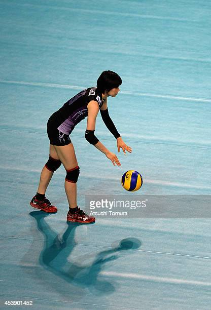 Haruka Miyashita of Japan prepares to serve against Turkey during the FIVB World Grand Prix Final group one match between Japan and Turkey on August...