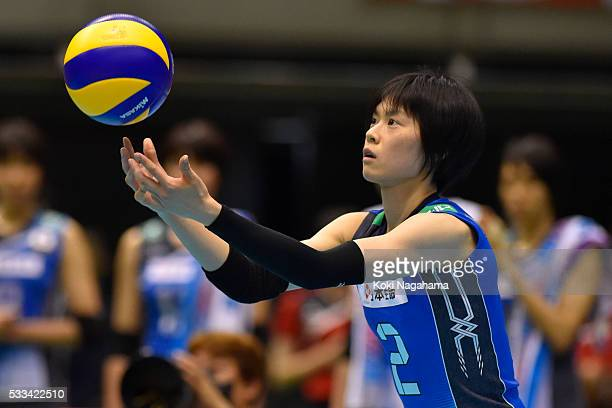 Haruka Miyashita of Japan serves the ball during the Women's World Olympic Qualification game between Netherlands and Japan at Tokyo Metropolitan...