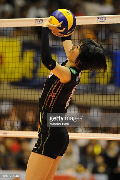Haruka Miyashita of Japan tosses in warm up prior to the match between Japan and Serbia during the FIVB Women's Volleyball World Cup Japan 2015 at...