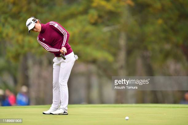 Haruka Morita of Japan attempts a putt on the 18th green during the final round of the Daio Paper Elleair Ladies at Elleair Golf Club Matsuyama on...