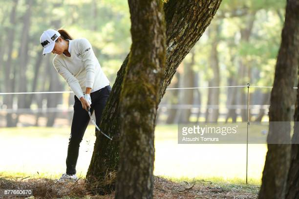 Haruka Morita of Japan hits he second shot on the 14th hole during the first round of the LPGA Tour Championship Ricoh Cup 2017 at the Miyazaki...