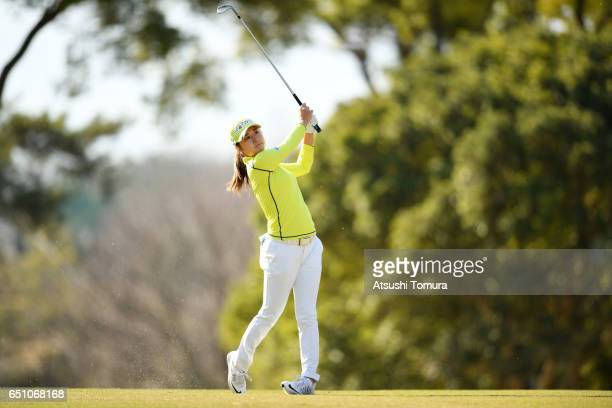 Haruka Morita of Japan hits her second shot on the 1st hole during the first round of the Yokohama Tire PRGR Ladies Cup at the Tosa Country Club on...