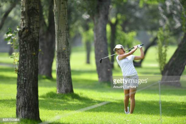 Haruka Morita of Japan hits her second shot on the 5th hole during the second round of the Nitori Ladies 2017 at the Otaru Country Club on August 25...