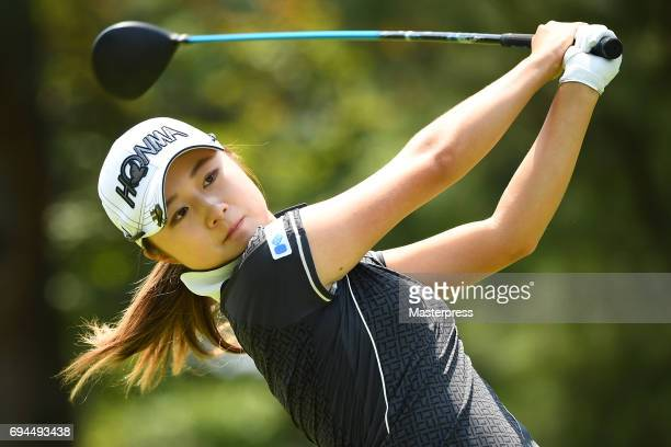 Haruka Morita of Japan hits her tee shot during the third round of the Suntory Ladies Open at the Rokko Kokusai Golf Club on June 10 2017 in Kobe...