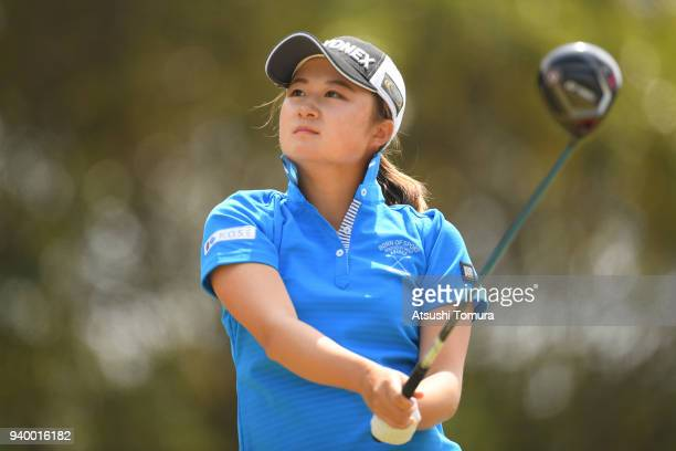 Haruka Morita of Japan hits her tee shot on the 1st hole during the second round of the Yamaha Ladies Open Katsuragi at the Katsuragi Golf Club on...