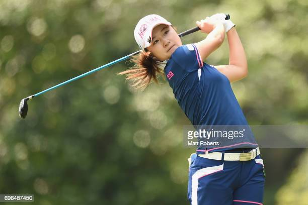 Haruka Morita of Japan hits her tee shot on the 2nd hole during the first round of the Nichirei Ladies at the Sodegaura Country Club Shinsode Course...