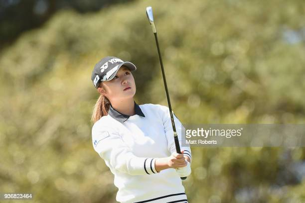 Haruka Morita of Japan hits her tee shot on the 2nd hole during the first round of the AXA Ladies Golf Tournament In Miyazaki at the UMK Country Club...
