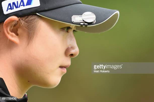 Haruka Morita of Japan looks on during the first round of the Yonex Ladies Golf Tournament 2016 at the Yonex Country Club on June 3 2017 in Nagaoka...