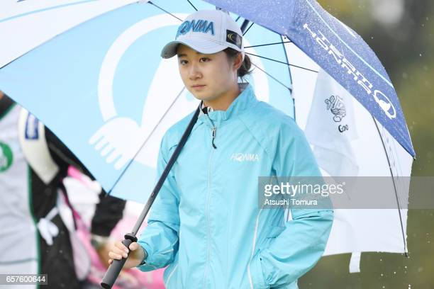 Haruka Morita of Japan looks on during the second round of the AXA Ladies Golf Tournament at the UMK Country Club on March 25 2017 in Miyazaki Japan