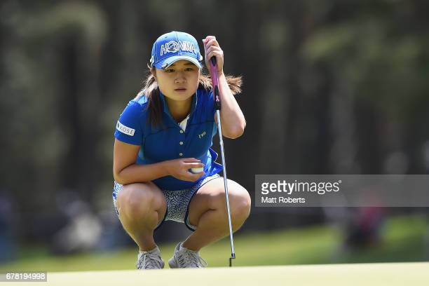 Haruka Morita of Japan prepares to putt on the 17th green during the first round of the World Ladies Championship Salonpas Cup at the Ibaraki Golf...