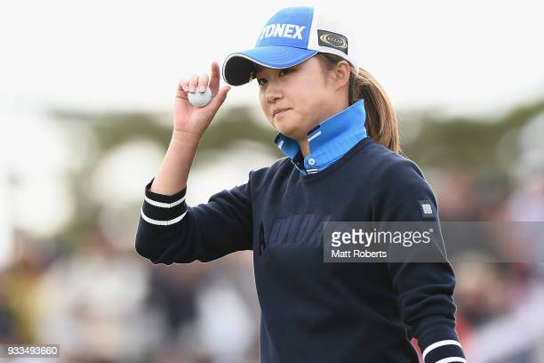 Haruka Morita of Japan reacts during the final round of the TPoint Ladies Golf Tournament at the Ibaraki Kokusai Golf Club on March 18 2018 in...