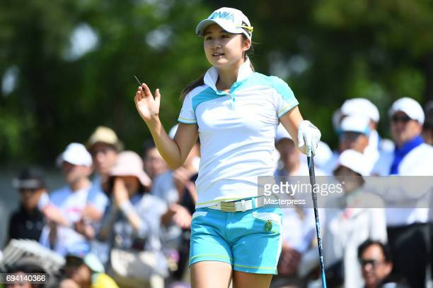 Haruka Morita of Japan reacts during the second round of the Suntory Ladies Open at the Rokko Kokusai Golf Club on June 9 2017 in Kobe Japan