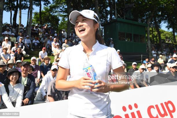 Haruka Morita of Japan smiles after winning the meiji Cup 2017 at the Sapporo Kokusai Country Club Shimamatsu Course on August 6 2017 in...
