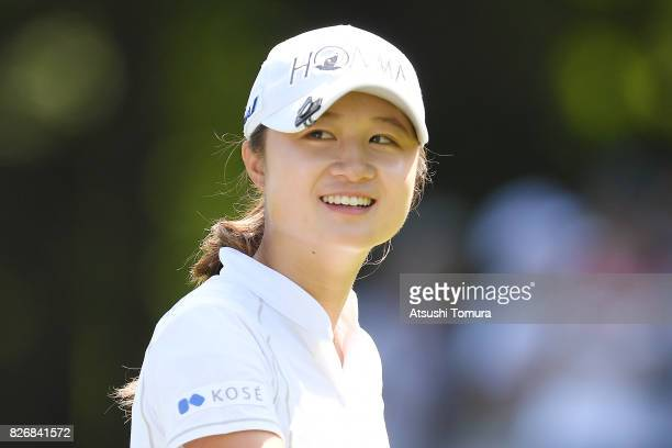 Haruka Morita of Japan smiles during the final round of the meiji Cup 2017 at the Sapporo Kokusai Country Club Shimamatsu Course on August 6 2017 in...