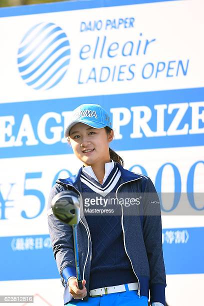 Haruka Morita of Japan smiles during the first round of the Daio Paper Elleair Ladies Open 2016 at the Elleair Golf Club on November 17 2016 in...