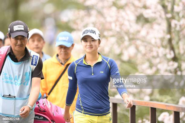 Haruka Morita of Japan smiles during the second round of the Studio Alice Open at the Hanayashiki Golf Club Yokawa Course on April 8 2017 in Miki...