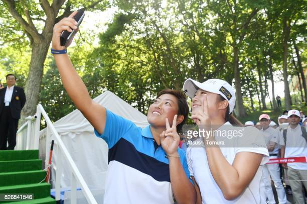 Haruka Morita of Japan take selfie with Haruka Kudo of Japan after winning the meiji Cup 2017 at the Sapporo Kokusai Country Club Shimamatsu Course...