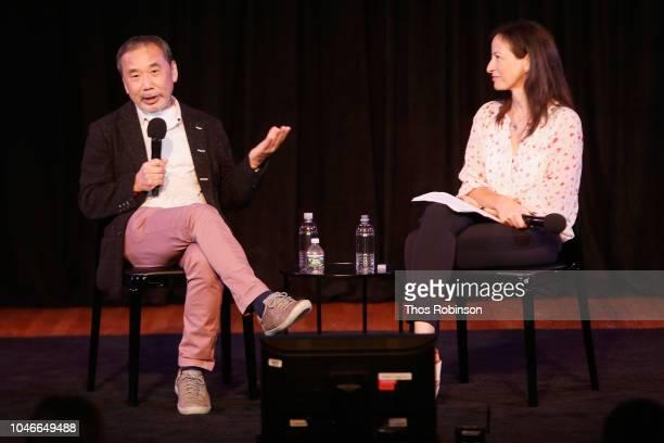 Haruki Murakami and Deborah Treisman speak on stage during the 2018 New Yorker Festival on October 6, 2018 in New York City.