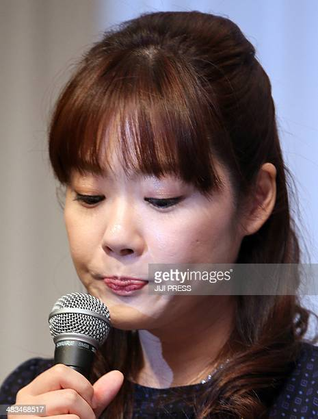Haruko Obokata a female researcher of Japan's Riken Institute speaks at a press conference in Osaka, western Japan on April 9 following claims that...