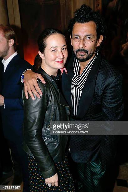 Harumi Klossowska de Rola and fashion designer Haider Ackermann attending the Cocktail Dinatoire of German VOGUE in honor of Mario Testino at...