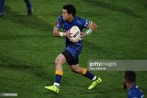 Harumichi Tatekawa of Otago makes a break during the round three Mitre 10 Cup match between Hawke's Bay and Otago at McLean Park on August 22, 2019...