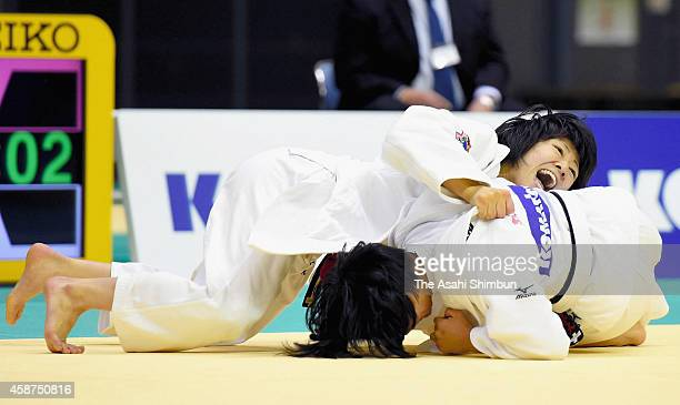 Haruna Asami and Funa Tonaki compete in the Women's 48kg final during day two of the Kodokan Cup All Japan Judo Championships by Weight Category at...