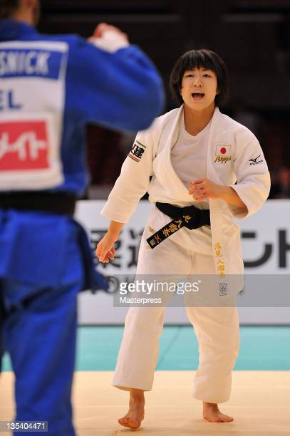 Haruna Asami competes in the Women's 48kg Semi Final with Charline van Snick of Belgium during day one of the Judo Grand Slam Tokyo at Tokyo...