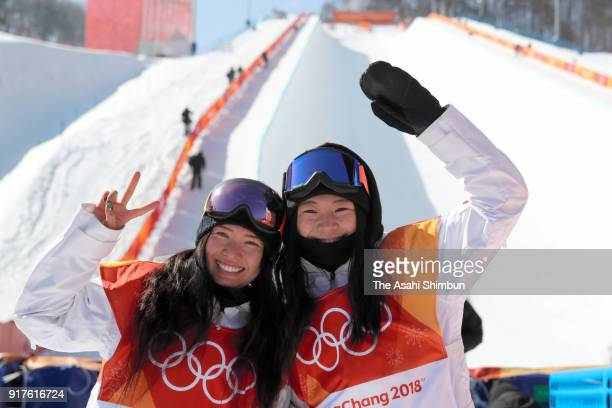 Haruna Matsumoto and Sena Tomita of Japan pose for photographs after competing in the Snowboard Women's Halfpipe Final on day four of the PyeongChang...