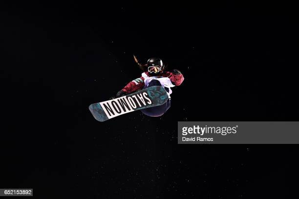 Haruna Matsumoto of Japan competes during the Women's Snowboard Halfpipe Final on day four of the FIS Freestyle Ski and Snowboard World Championships...