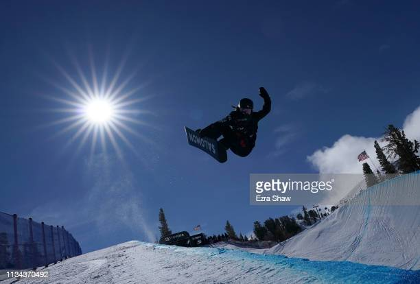 Haruna Matsumoto of Japan competes in the Ladies' Snowboard Halfpipe Qualifiers at the 2019 US Grand Prix at Mammoth Mountain on March 07 2019 in...