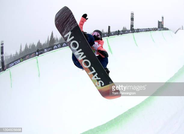 Haruna Matsumoto of Japan competes in the Snowboard Team Challenge - Modified Superpipe Presented by Toyota Event during the Dew Tour Copper Mountain...