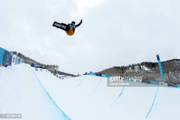 Haruna Matsumoto of Japan competes in the Women's Halfpipe finals during the Burton US Open Championships at Golden Peak on March 2 2019 in Vail...