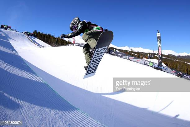 Haruna Matsumoto of Japan competes in the Women's Snowboard Modified Superpipe Final presented by Toyota during Day 4 of the Dew Tour on December 16...
