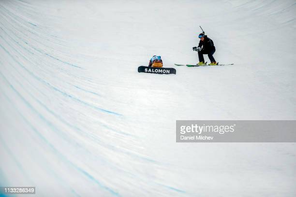 Haruna Matsumoto of Japan crashes at Women's Halfpipe finals during the Burton US Open Championships at Golden Peak on March 2 2019 in Vail Colorado