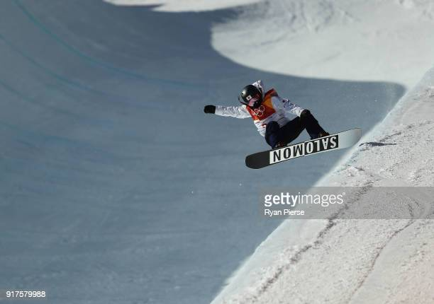 Haruna Matsumoto of Japan during the Snowboard Ladies' Halfpipe Final on day four of the PyeongChang 2018 Winter Olympic Games at Phoenix Snow Park...