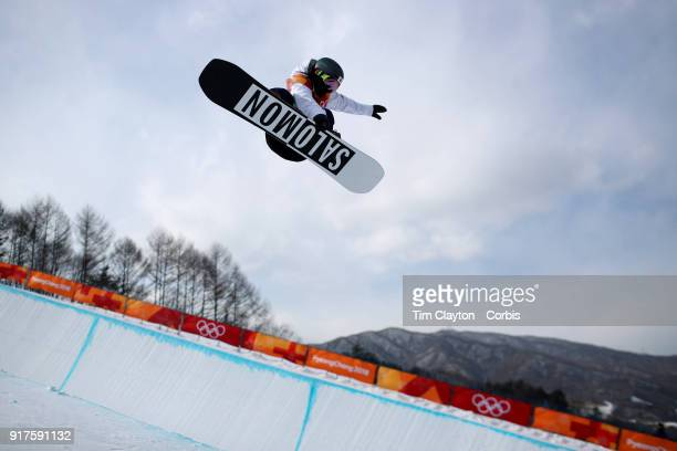 Haruna Matsumoto of Japan in action during the Snowboard Ladies' Halfpipe qualification competition at Phoenix Snow Park on February 12 2018 in...