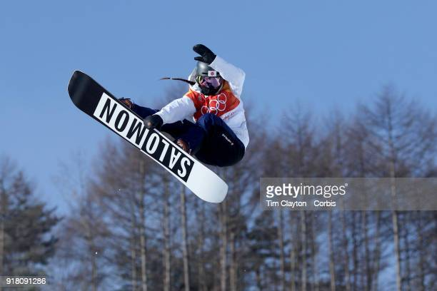 Haruna Matsumoto of Japan in action on the final day of the Snowboard Ladies' Halfpipe competition at Phoenix Snow Park on February 13 2018 in...