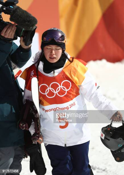 Haruna Matsumoto of Japan reacts after her run during the Snowboard Ladies' Halfpipe Final on day four of the PyeongChang 2018 Winter Olympic Games...