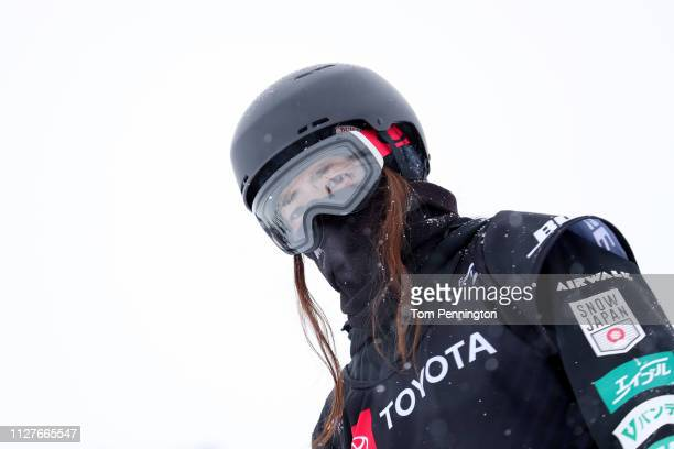 Haruna Matsumoto of Japan waits to take a run during a Ladies' Snowboard Halfpipe training session at the FIS Snowboard World Championships on...