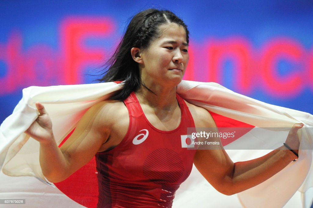 Haruna Okuno of Japan celebrates during the female 55 kg wrestling competition of the Paris 2017 Women's World Championships at AccorHotels Arena on August 23, 2017 in Paris, France.
