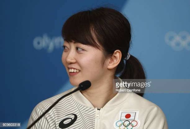 Haruna Yoneyama of Japan Women's Ice Hockey team speaks to the media during a press conference on day 15 of the PyeongChang 2018 Winter Olympic Games...
