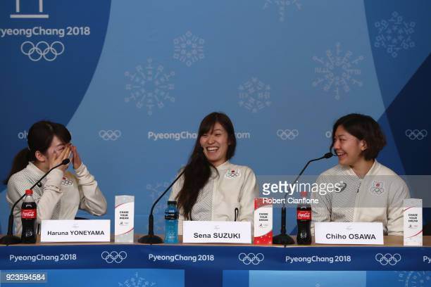 Haruna Yoneyama Sena Suzuki and Chiho Osawa of Japan Women's Ice Hockey team speak to the media during a press conference on day 15 of the...