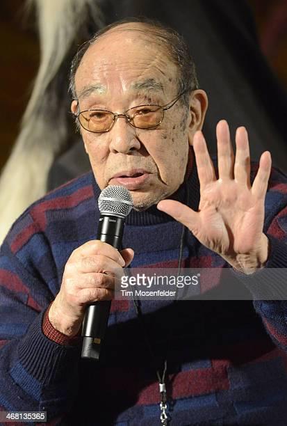 Haruo Nakajima aka Godzilla attends a panel discussion as part of Kirk Von Hammett's Fear FestEvil at Grand Regency Ballroom on February 8 2014 in...