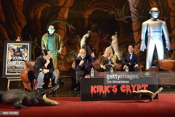 Haruo Nakajima and Bin Furuya attend a panel discussion as part of Kirk Von Hammett's Fear FestEvil at Grand Regency Ballroom on February 8 2014 in...