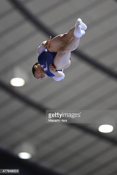 Haruo Yamaguchi in action on day two of the Trampoline Japan National Team Trial for The Trampoline World Championships 2015 at Yoyogi National...