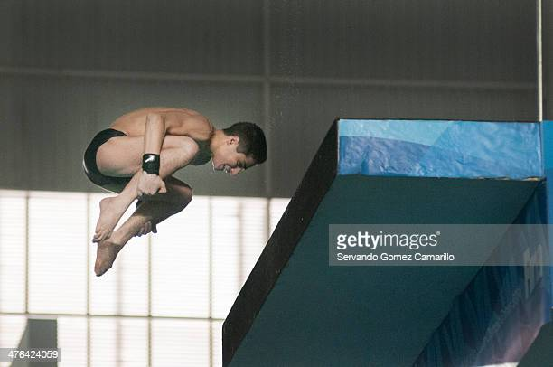 Harutyunyan Vladimi in action in the 3 meter springboard during the Day 2 of a diving qualifier for the Youth Olympic Games Nanjing 2014 at the...